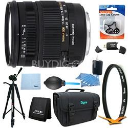 17-70mm f/2.8-4 DC Macro OS HSM Lens for Canon EOS Mount DSLR Lens Kit Bundle