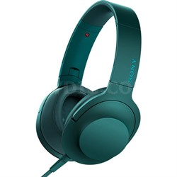 MDR100AAP h.Ear on Premium Hi-Res On-Ear Stereo Headphones - Viridian Blue