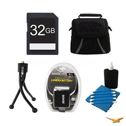 32GB SD Card, Case, Battery, Mini Tripod, and Cleaning Kit