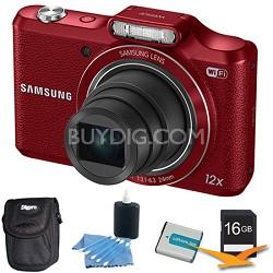 WB50F 16.2MP 12x Opt Zoom Smart Digital Camera Red 16GB Kit