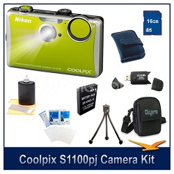 COOLPIX S1100pj Green Digital Camera 16GB Kit w/ Reader, Case, Battery, & More