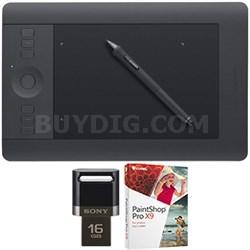 Intuos Pro Pen & Touch Tablet Medium Creative Bundle 16GB USB/Corel Paint