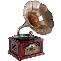 PTCDS3UIP Classical Trumpet Horn Turntable with AM/FM Radio CD/Cassette/USB & Di