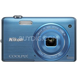 COOLPIX S5200 16 MP Built-In Wi-Fi Blue Digital Camera - Factory Refurbished