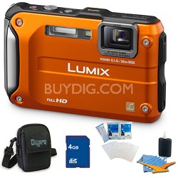 Lumix DMC-TS3 Orange Shockproof Freezeproof Dustproof Camera 4GB Bundle