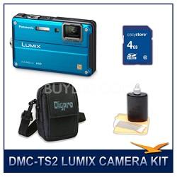 DMC-TS2A LUMIX 14.1MP Digital Camera (Blue), 4GB SD Card, and Camera Case