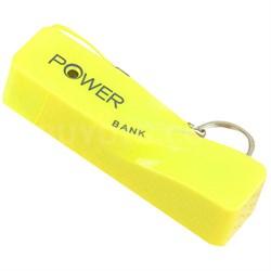 2600mAh Portable Keychain Power Bank - Yellow