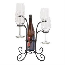 Black Steel Wine Bottle and Glasses Caddy - 87939