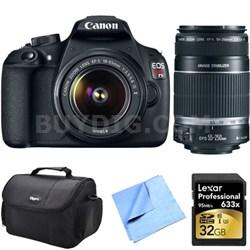 EOS Rebel T5 18MP DSLR Camera w/ 18-55ISmm & 55-250mm Lens Instant Rebate Kit