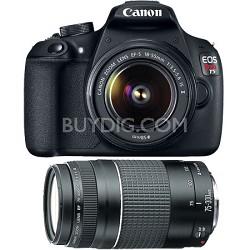EOS Rebel T5 18MP DSLR Camera w/ 18-55mm & 75-300mm Lens Kit