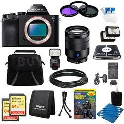 Alpha 7 a7 Digital Camera, 24-70mm Lens, 2 64GB Cards, 2 Batteries, Flash Bundle