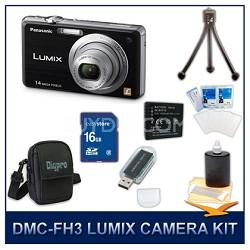 DMC-FH3K LUMIX 14.1 MP Digital Camera (Black), 16GB SD Card, and Camera Case