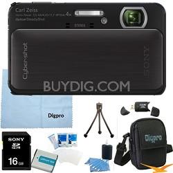 Cyber-shot DSC-TX20 16.2 MP Waterproof Shockproof Camera (Black) 16GB Bundle