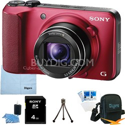Cyber-shot DSC-HX10V (Red) 18.2 MP 16x Zoom 3D Sweep HD Video with 4GB Bundle