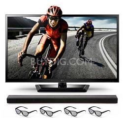 55LM4700 55 inch1080p 120Hz SLIM LED 3D TV w/ Soundbar + 4 Glasses