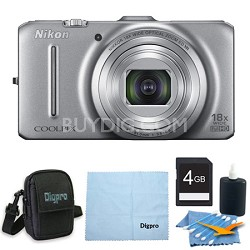 COOLPIX S9300 16MP 18x Opt Zoom 3.0 LCD Digital Camera 4GB Silver Bundle