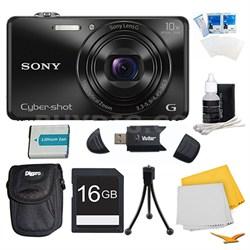DSC-WX220 Black Digital Camera, 16GB Card, Case, and Battery Bundle
