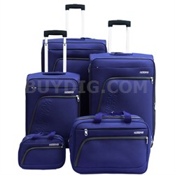 """Glider 5Pc Spinner Luggage Set 28"""", 24"""", 20"""", Boarding & Toiletry Bag - Blue"""