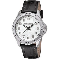 Ladies' Squadron Analog Watch - White Dial/Black Leather Strap - OPEN BOX