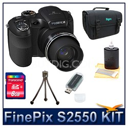 FinePix S2550 + 8GB Card + Card Reader + Case + Mini Tripod and More