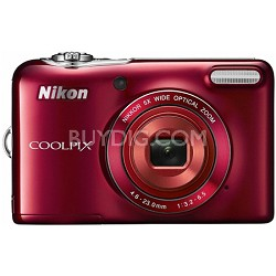 COOLPIX L30 20.1MP 5x Opt Zoom HD 720p Digital Camera (Red) Refurbished