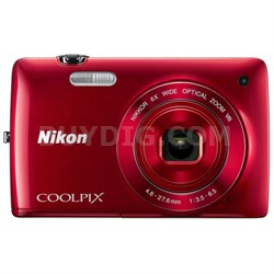 COOLPIX S4300 16MP Digital Camera with 3-inch Touchscreen (Red) Refurbished