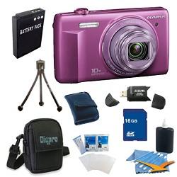 16 GB Kit VR-340 16MP 10x Opt Zoom 3-inch LCD Digital Camera - Purple