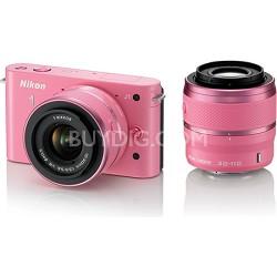 1 J1 SLR Pink Digital Camera w/ 10-30mm & 30-110mm VR Lenses