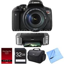 EOS Rebel T6i Digital SLR w/ 18-135 IS STM Lens + Pro 100, Paper, & 32 GB Card