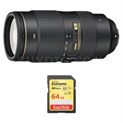 AF-S NIKKOR 80-400mm f.4.5-5.6G ED VR Lens and 64GB Card Bundle
