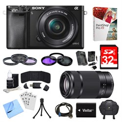 Alpha a6000 Black Camera with 16-50mm, 55-210mm Lenses and Accessories Bundle