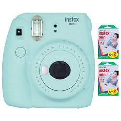 Instax Mini 9 Instant Camera - Ice Blue w/ 40 Sheets Of Instant Film
