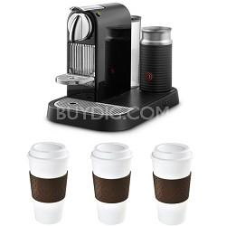 Espresso Maker w/Aeroccino Milk Frother Reusable To Go Mug 3-Pack (Brown) Bundle