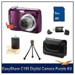 EasyShare C195 Digital Camera Purple 8GB Bundle w/ Case, Reader & More