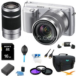 NEX-F3K Camera built in flash with 18-55, 55-210 Ultimate Bundle  (Silver)