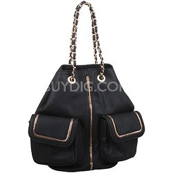 Rock Star Chain Handle Designer Inspired Bucket Bag in Black
