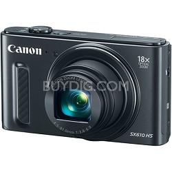 PowerShot SX610 HS 20.2 MP Digital Camera 18x Zoom 3-inch LCD with WiFi - Black