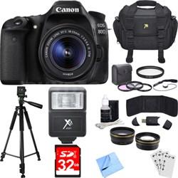 EOS 80D CMOS Digital SLR Camera w/ EF-S 18-55mm IS STM Lens Deluxe Bundle