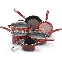 Porcelain Enamel II Nonstick 10-Piece Cookware Set, Red Gradient