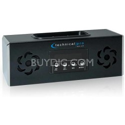 Battery Powered Speaker with iPhone or iPod Dock & USB Input - Black