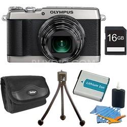SH-1 16MP HD 1080p 24x Opt Zoom Digital Camera Silver 16 GB Kit