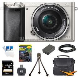 Alpha a6000 Mirrorless Digital Camera w/ 16-50mm Lens + 8-Piece Accessory Bundle