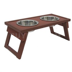 Medium Double Raised Dog Bowl in Russet - EHHF203M