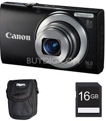 PowerShot A4000 IS 16MP Black Digital Camera 8x Optical Zoom 3 inch LCD - Kit