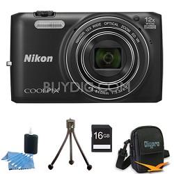 COOLPIX S6800 16MP 1080p HD Video Digital Camera Black 16GB Kit Refurbished