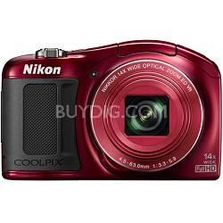 COOLPIX L620 18.1 MP CMOS 14x Zoom 1080p HD Digital Camera - Red