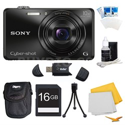 DSC-WX220 Black Digital Camera, 16GB Card, and Case Bundle