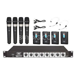 Rack Mount 8 Channel Wireless Microphone System with 4 Lavalier/Headsets and 4 H