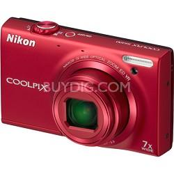 COOLPIX S6100 16MP Red Digital Camera w/ HD Video