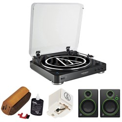 Fully Automatic Bluetooth Wireless Stereo Turntable-Black w/ Studio Monitor Kit
